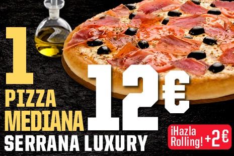 1 Pizza Mediana Serrana Luxury a Domicilio x 12€ (7-ingr.)