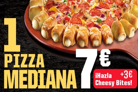 1 Pizza Mediana Cheesy a Recoger x 10€ (6- ingr.)