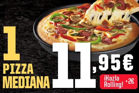 1 Pizza Mediana a Domicilio x 11,95€ (6- ingr.)