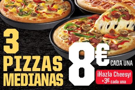 3 Pizzas Medianas Cheesy a Domicilio x 24€ (7-ingr.)
