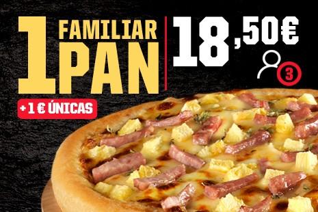 1 Pizza Familiar PAN a Domicilio x 18,50€ (7- ingr.)