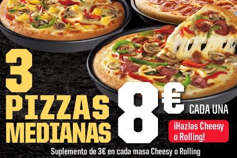 3 Pizzas Medianas a Domicilio x 24€ (7-ing)