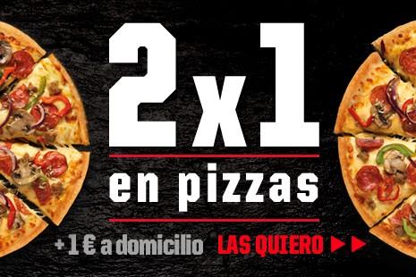 2x1 en Pizzas a Domicilio + 1€ (4+ ingr.)