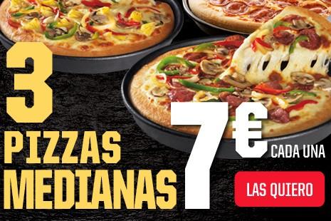 3 Pizzas Medianas a Domicilio x 21€ (7-ingr.)