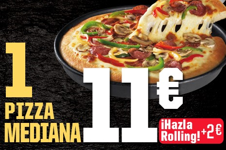 1 Pizza Mediana a Domicilio x 11€ (7-ingr.)