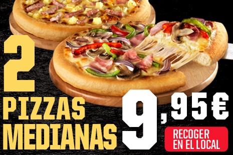 2 Pizzas Medianas a Recoger x 9,95€ (6- ingr.) los Martes