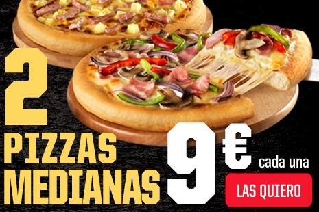 2 Pizzas Medianas a Domicilio x 18€ (7-ingr.)