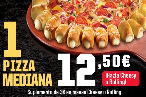 1 Pizza Mediana a Domicilio x 12,50€ (7- ingr.)