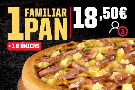 1 Pizza Familiar PAN a Domicilio x 18,50€ (7- ingr.)
