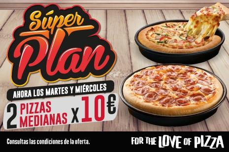 2 Pizzas Medianas a Recoger x 10€ (3- ingr.) Martes y Miercoles